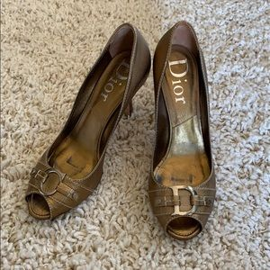 Dior Gold Leather Peep Toe Pumps 39.5
